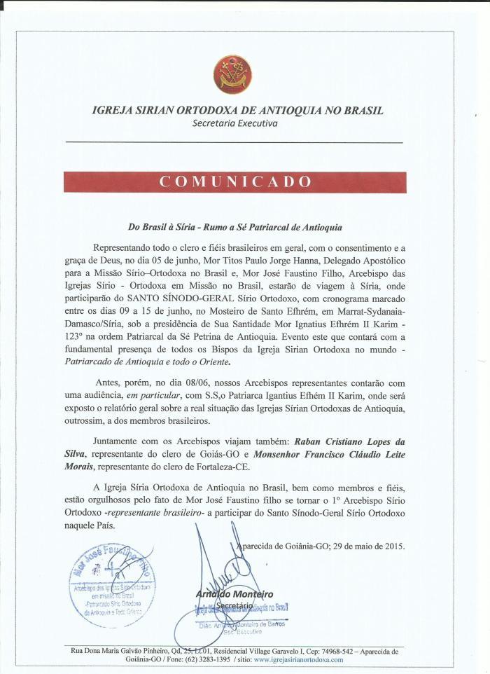 COMUNICADO 2015 -Sínodo Ortodoxo-Geral