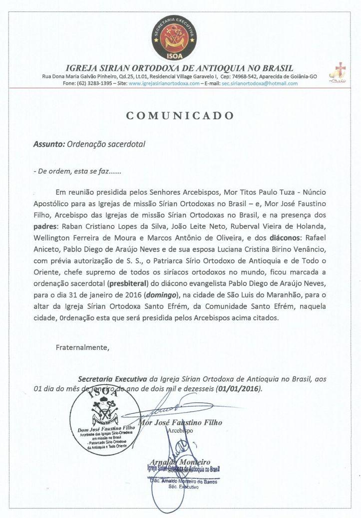 COMUNICADO-ordenação_diácono Pablo
