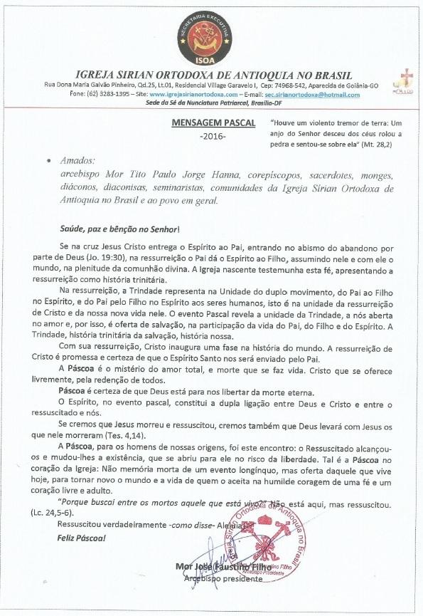 mensagem páscoa Mor José Faustino 2016